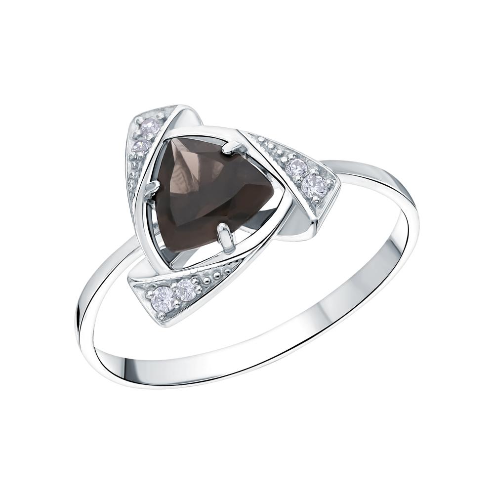 Фото «Серебряное кольцо с кварцами дымчатыми и кубическими циркониями»