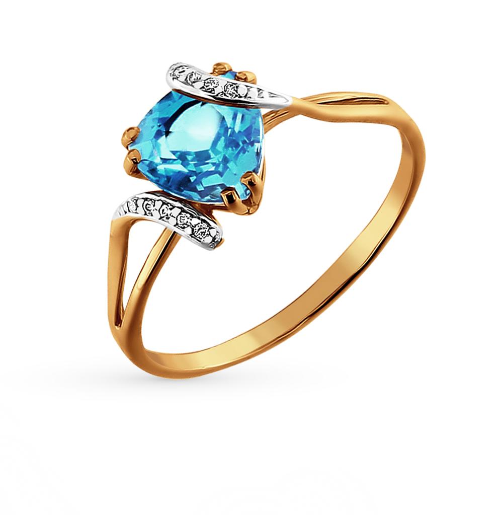 золотое кольцо с топазами и фианитами SOKOLOV 712421*