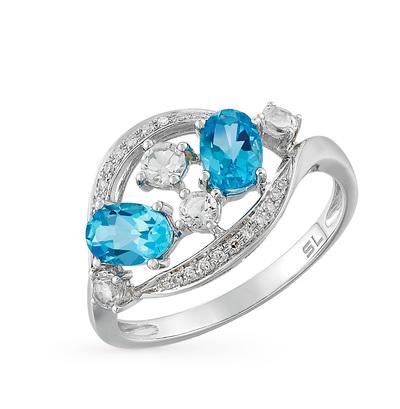 Золотое кольцо с топазами и бриллиантами в Санкт-Петербурге