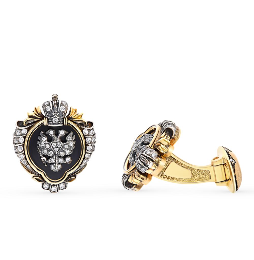 золотые запонки с эмалью и бриллиантами