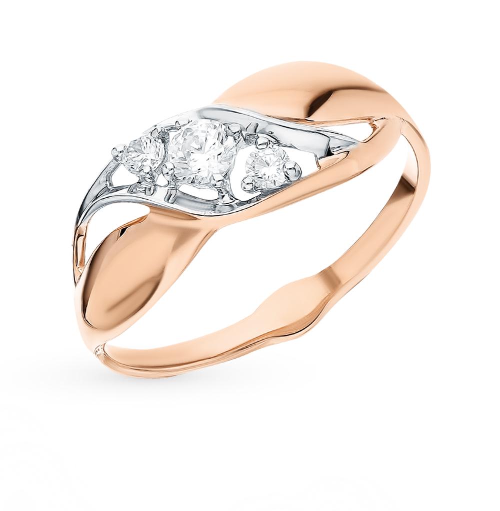золотое кольцо с фианитами SOKOLOV 018070*