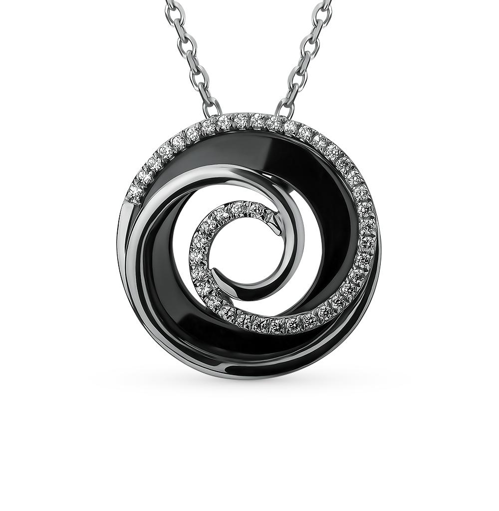 шейное украшение из серебра и керамики с фианитами