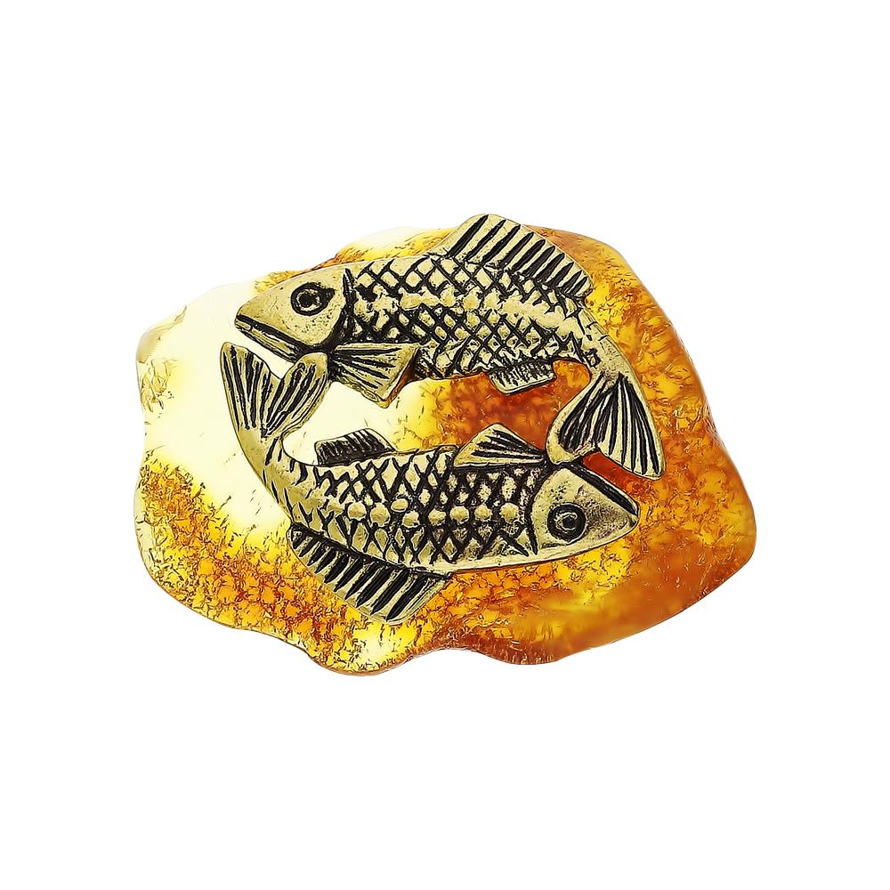 Фото «Латунный сувенир настольный с янтарем»