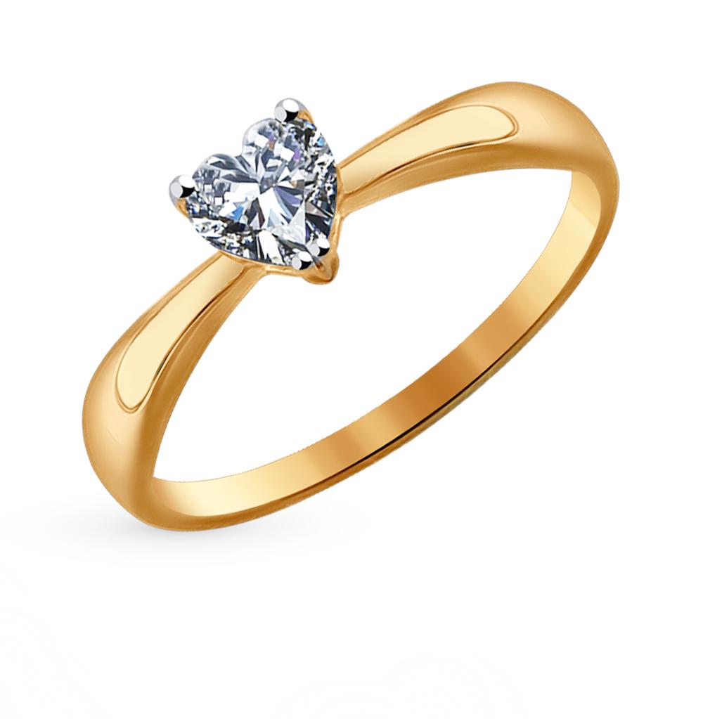 золотое кольцо с фианитами SOKOLOV 016949*
