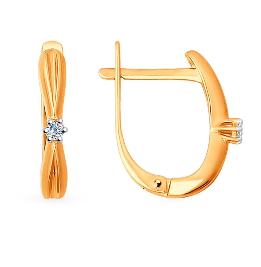 Фото «Золотые серьги с бриллиантами SOKOLOV 1020889»