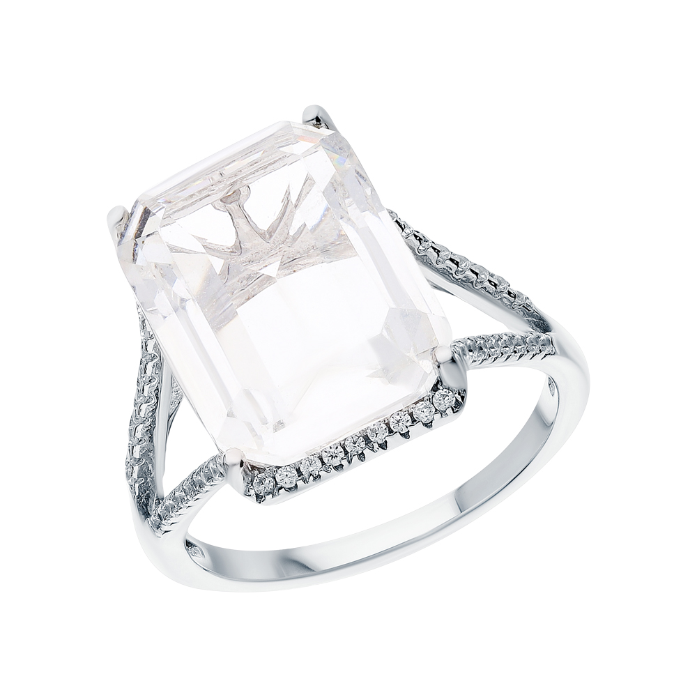Фото «Серебряное кольцо с кварцами синтетическими и кубическими циркониями»