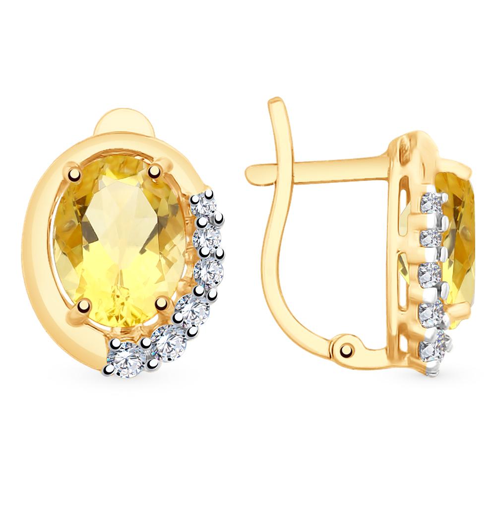 золотые серьги с фианитами и цитринами SOKOLOV 726180*