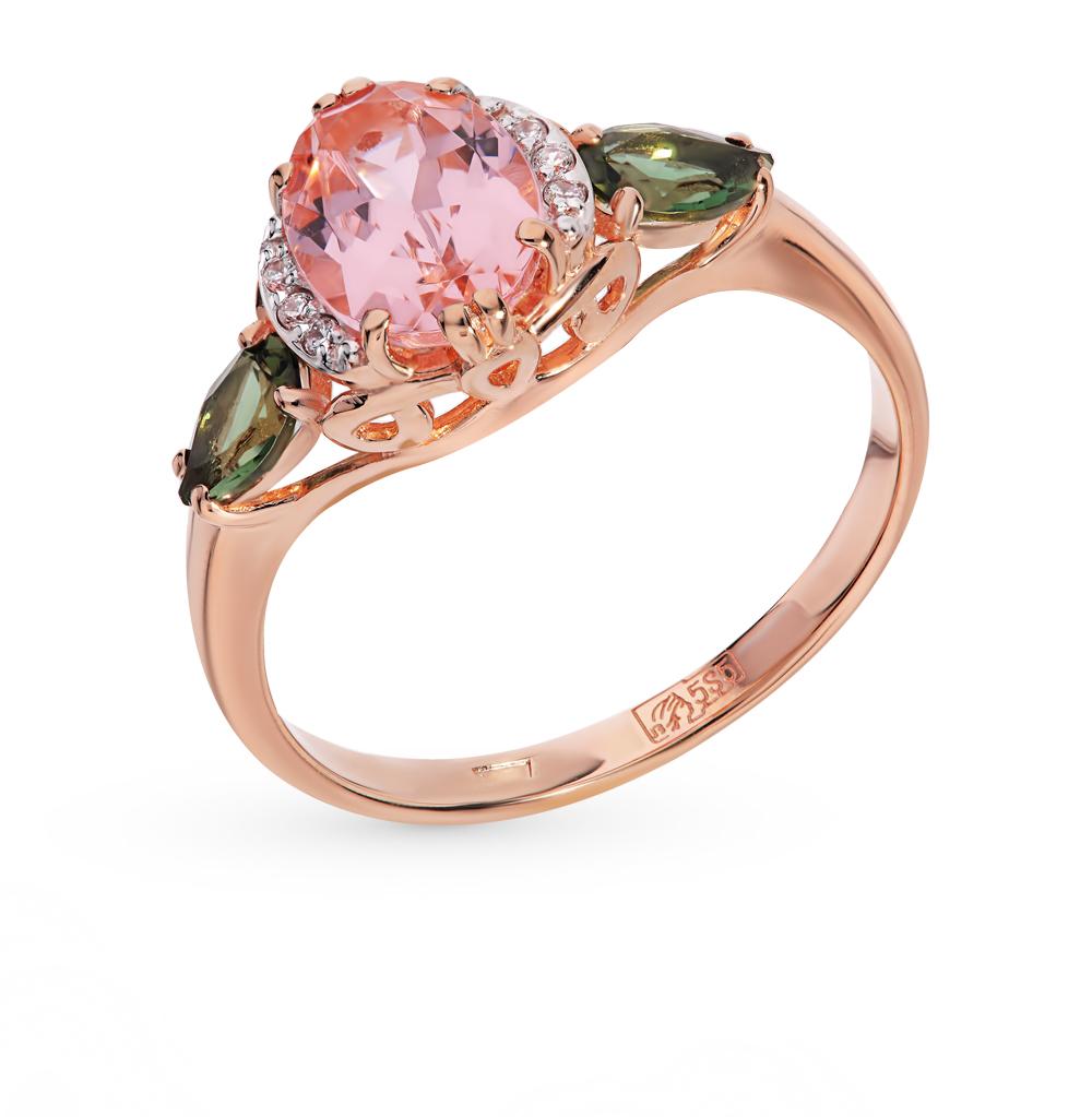 золотое кольцо с турмалинами, морганитами и фианитами