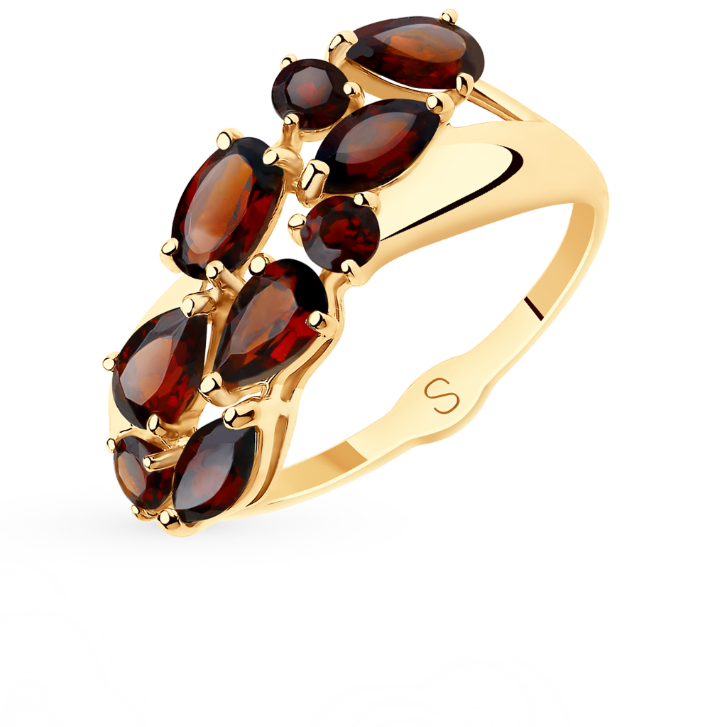 золотое кольцо с гранатом SOKOLOV 715633*