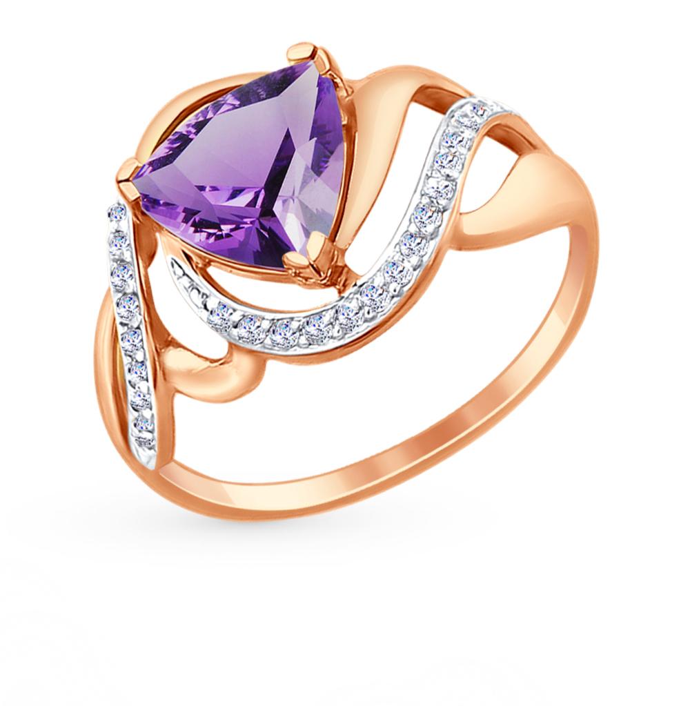 золотое кольцо с аметистом и фианитами SOKOLOV 714724*
