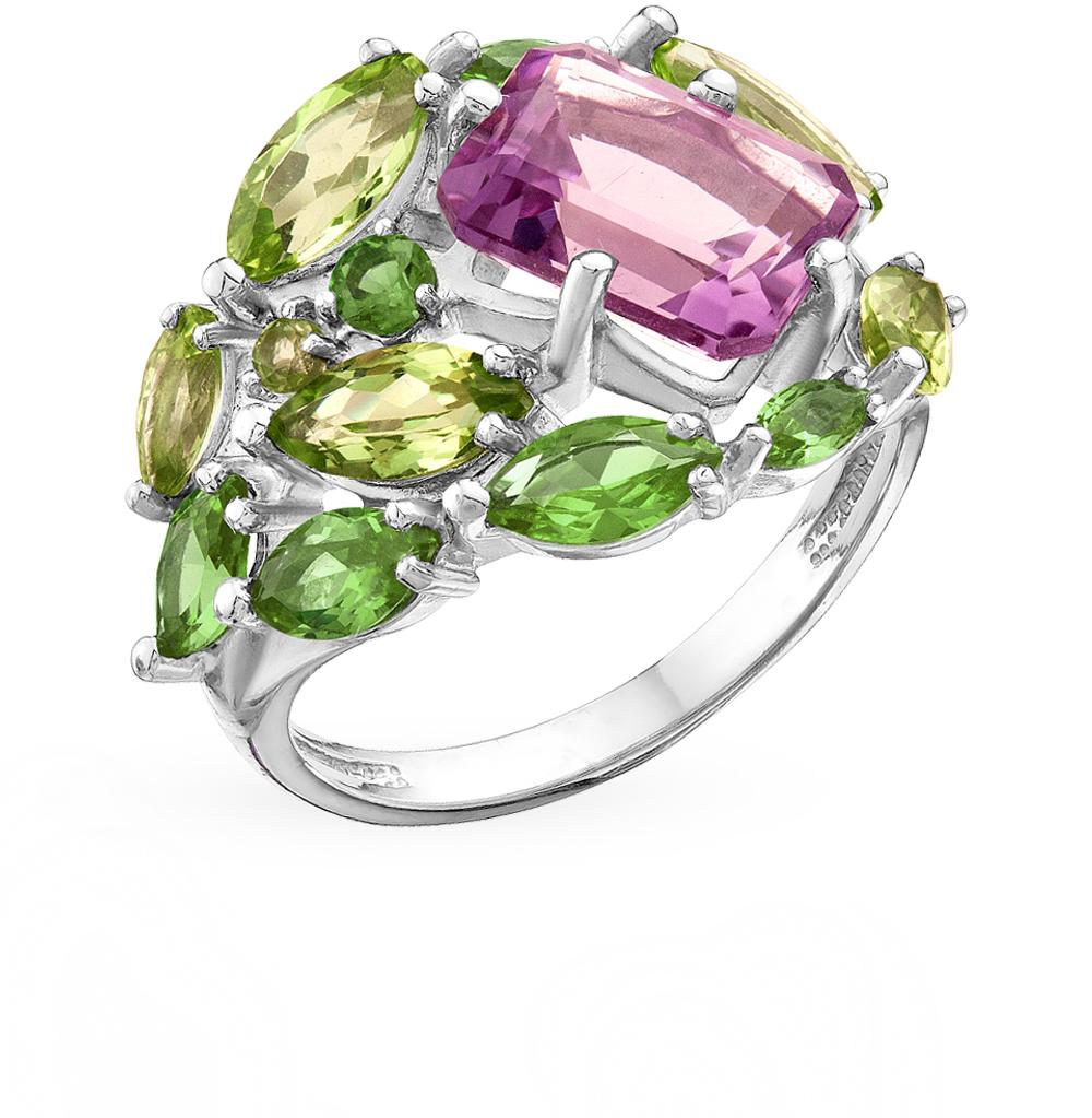 Фото «Серебряное кольцо с султанитами, хризолитом и аметистом»