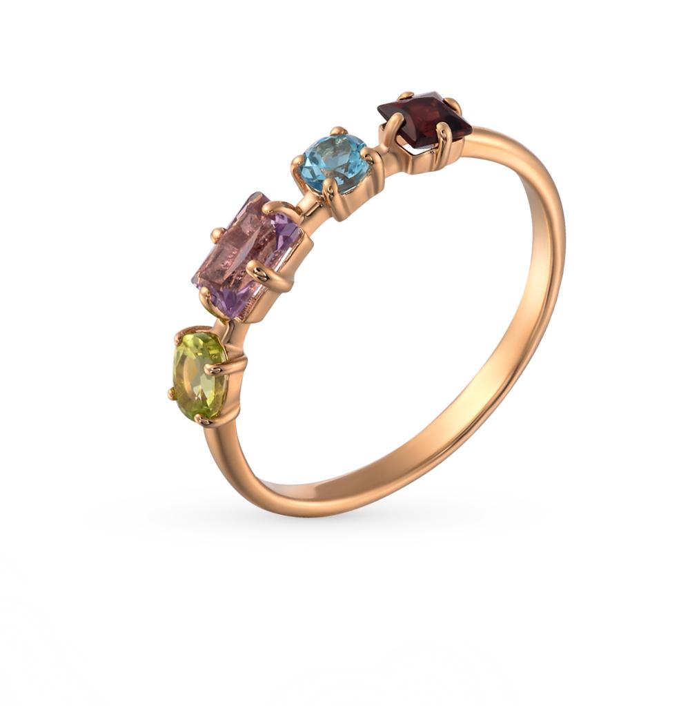 золотое кольцо с аметистом, топазами и гранатом