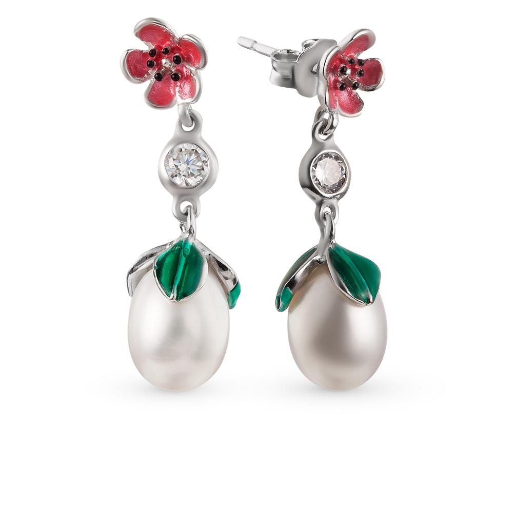 Фото «серебряные серьги с фианитами, эмалью и жемчугами культивированными»