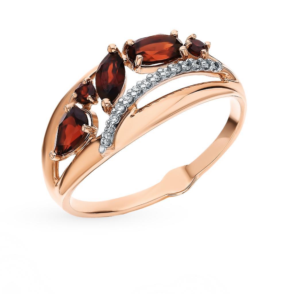 Фото «Золотое кольцо с фианитами и гранатом SOKOLOV 715573»