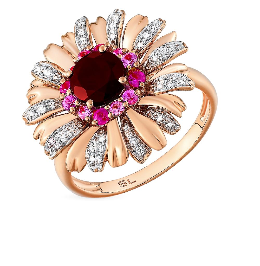 золотое кольцо с сапфирами, гранатом и бриллиантами