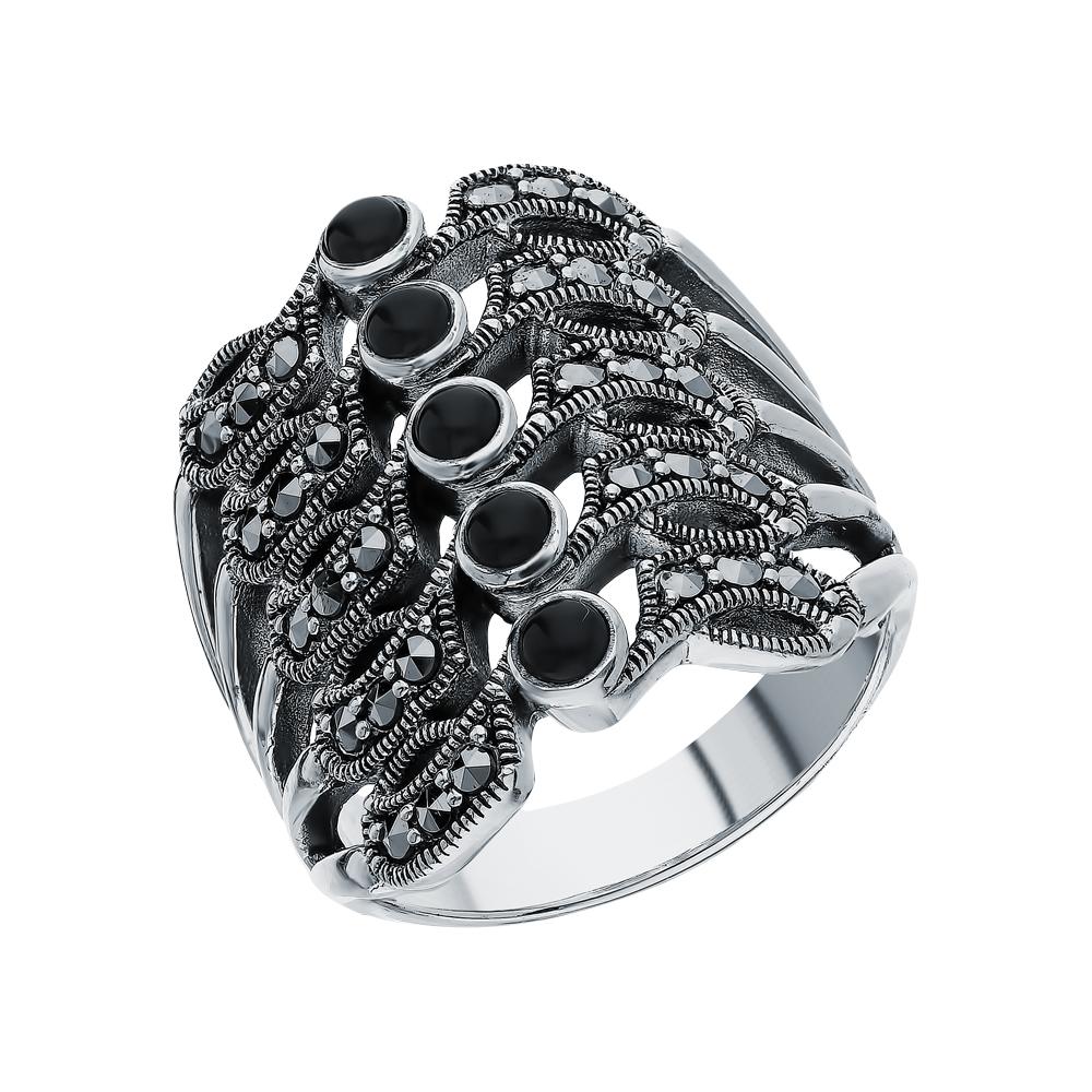 Фото «Серебряное кольцо с ониксом и марказитами swarovski»