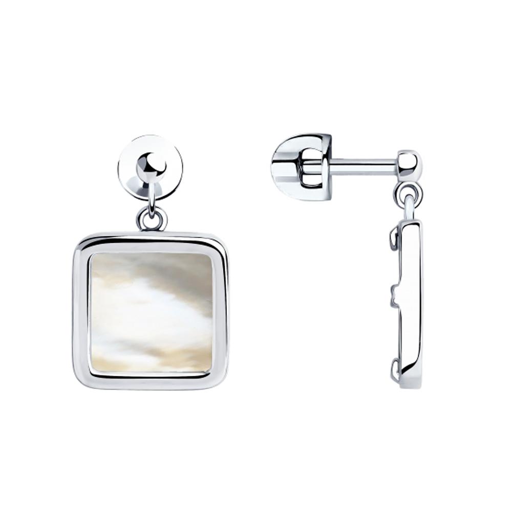 серебряные серьги с перламутром SOKOLOV 94023511