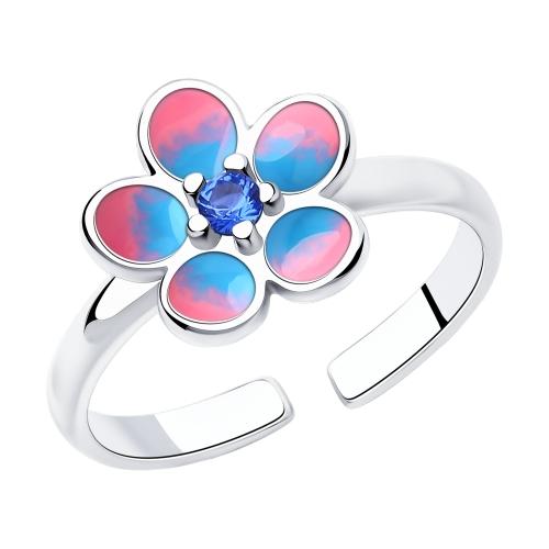 Фото «Серебряное кольцо с фианитами и эмалью SOKOLOV 94013129»