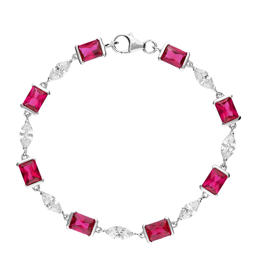 серебряный браслет с рубинами и фианитами