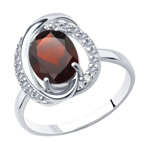 Фото «Серебряное кольцо с фианитами и гранатом SOKOLOV 92011939»