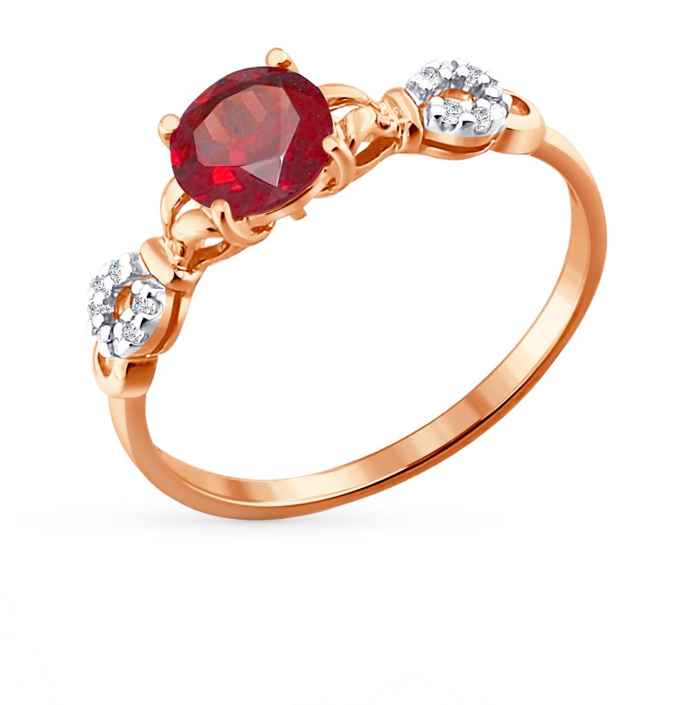 Фото «Золотое кольцо с фианитами и гранатом SOKOLOV 713808*»