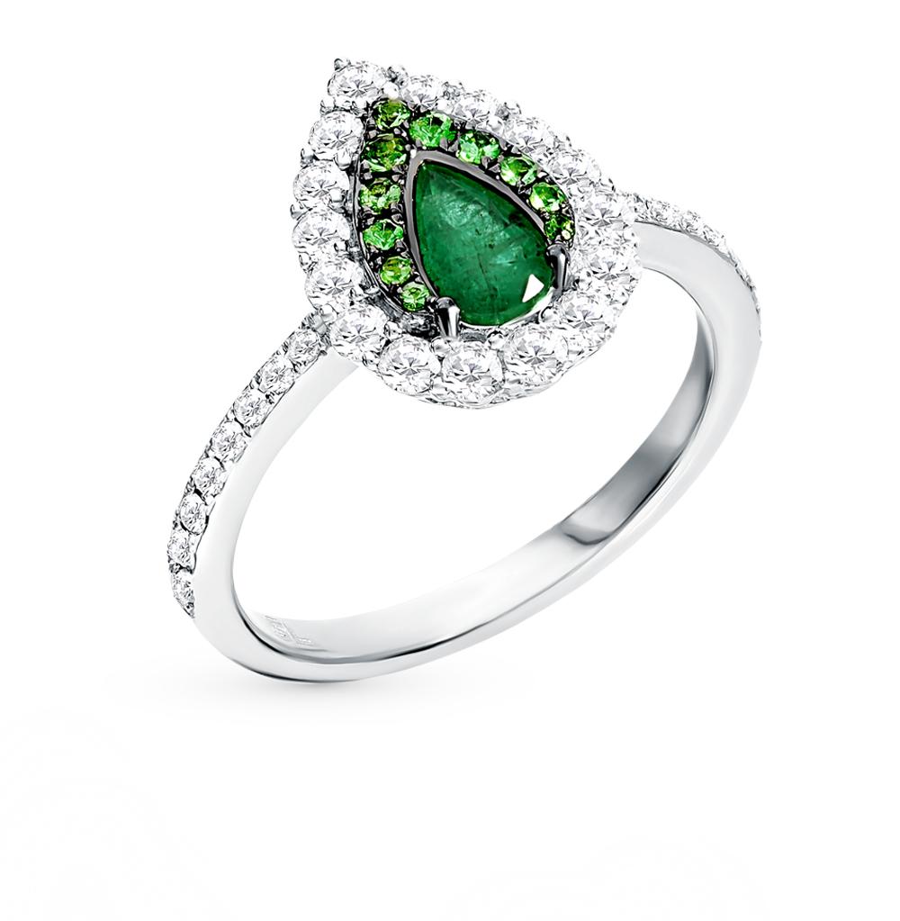 Золотое кольцо с изумрудом, цаворитами и бриллиантами
