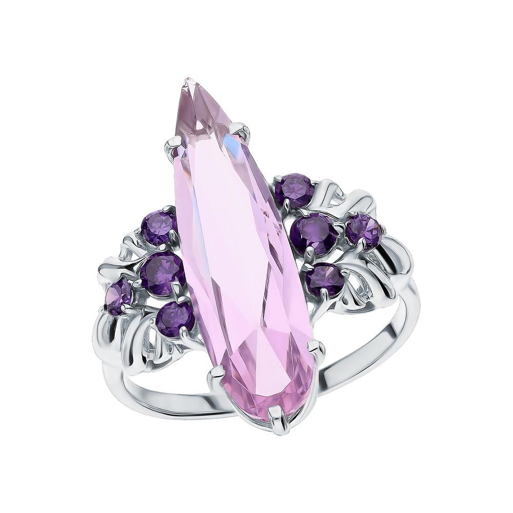 Фото «Серебряное кольцо с кунцитами и аметистами синтетическими»