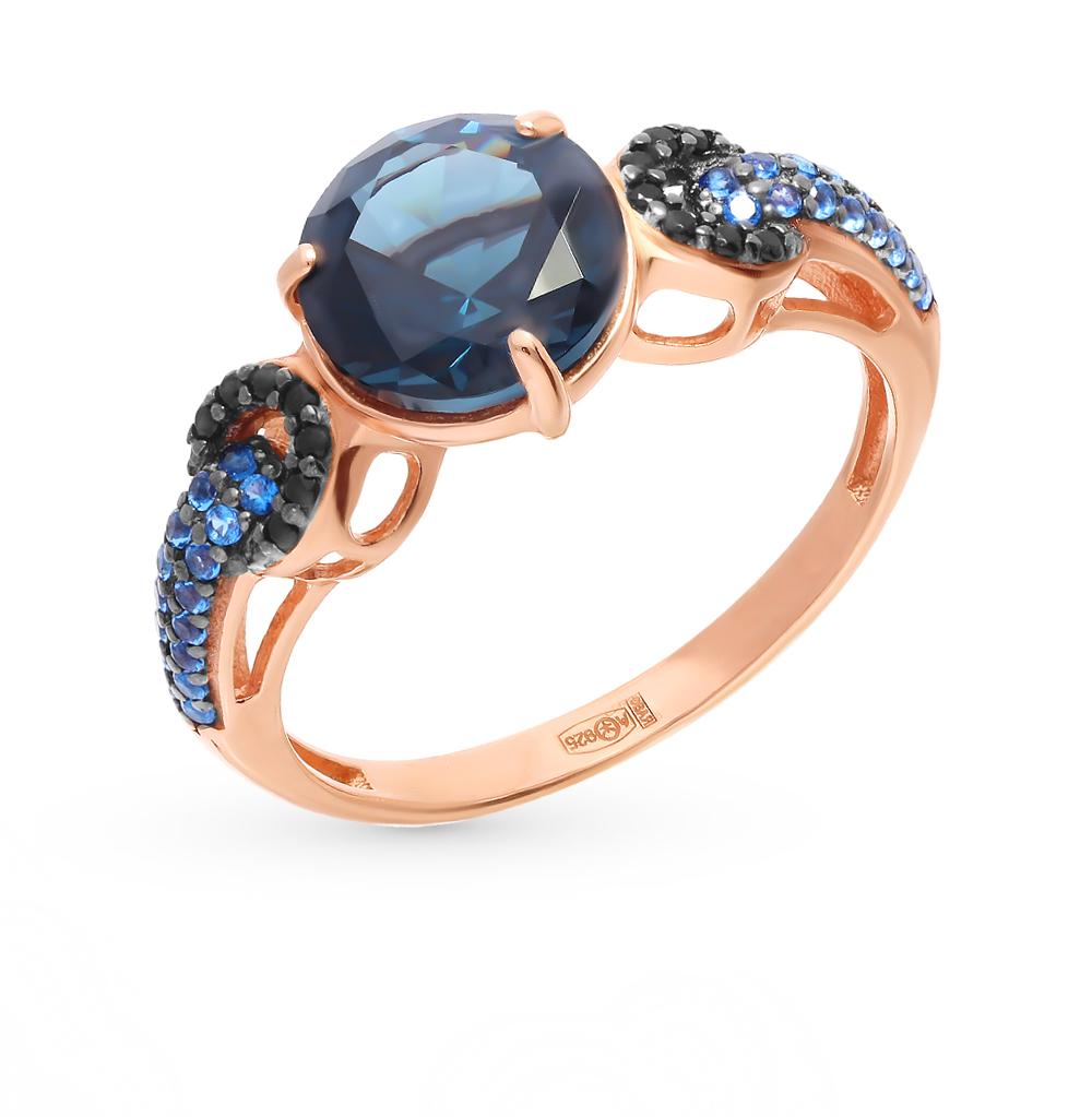 Фото «Серебряное кольцо с нанокристаллами, топазами и наносапфирами»