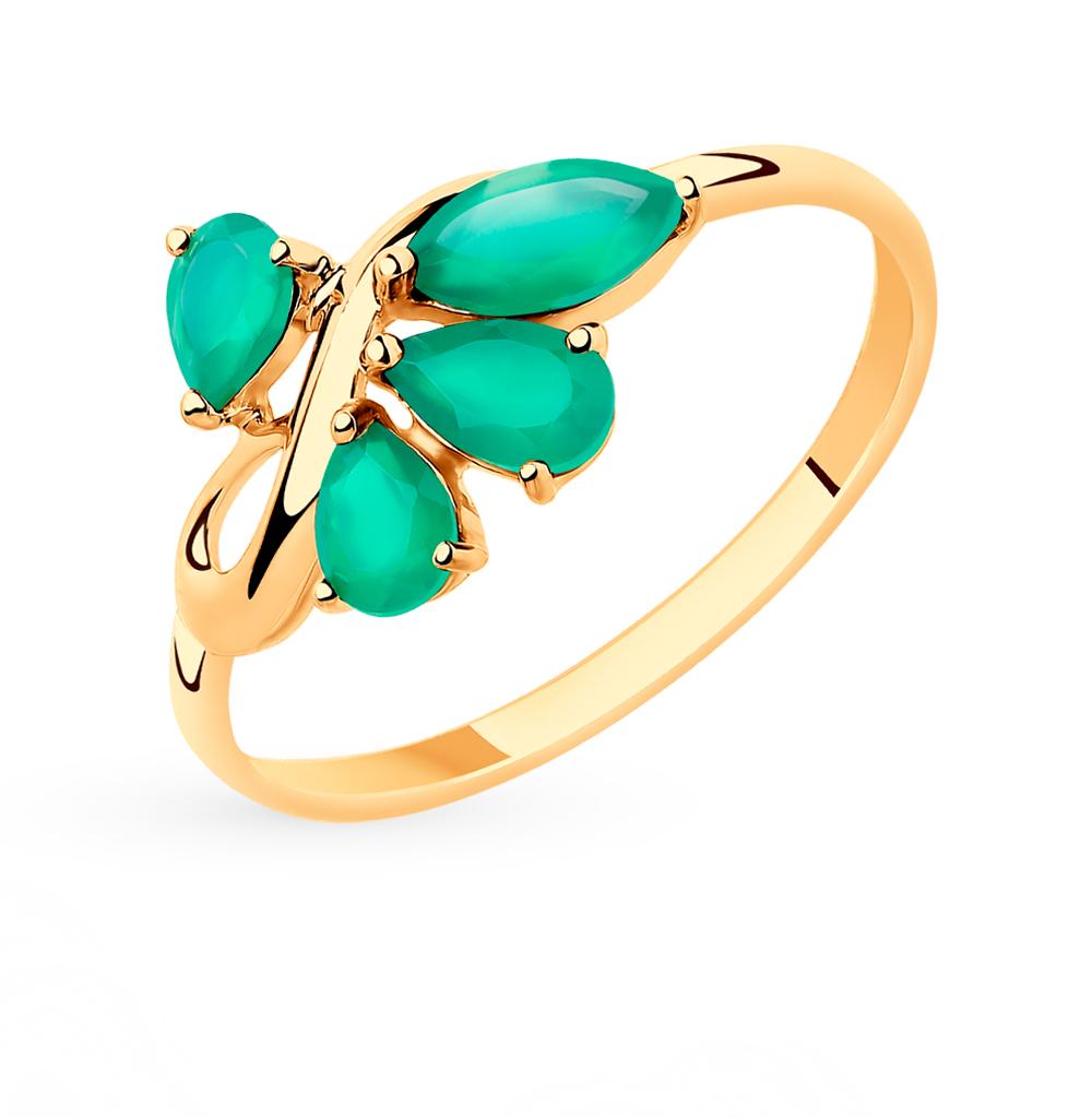 Фото «Золотое кольцо с фианитами и агатом SOKOLOV 715434*»