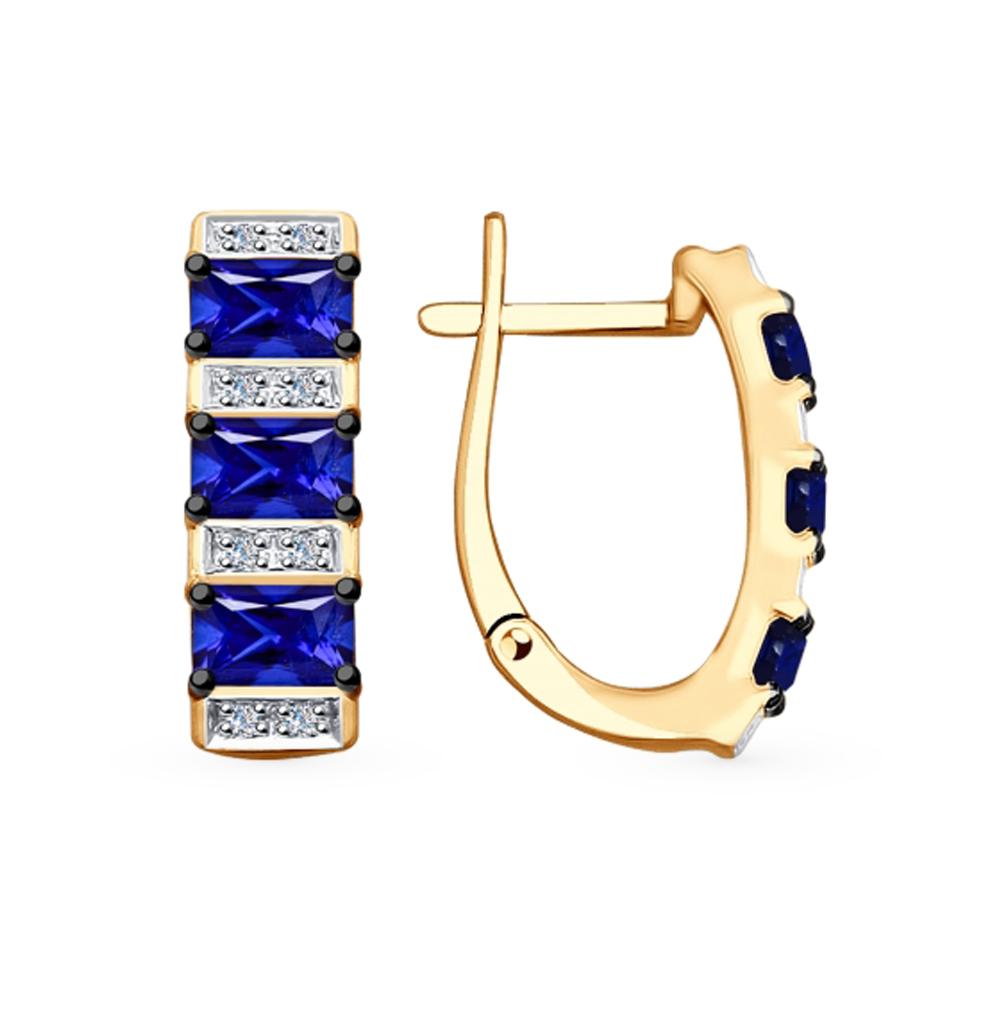 золотые серьги с корундом и бриллиантами SOKOLOV 6022132