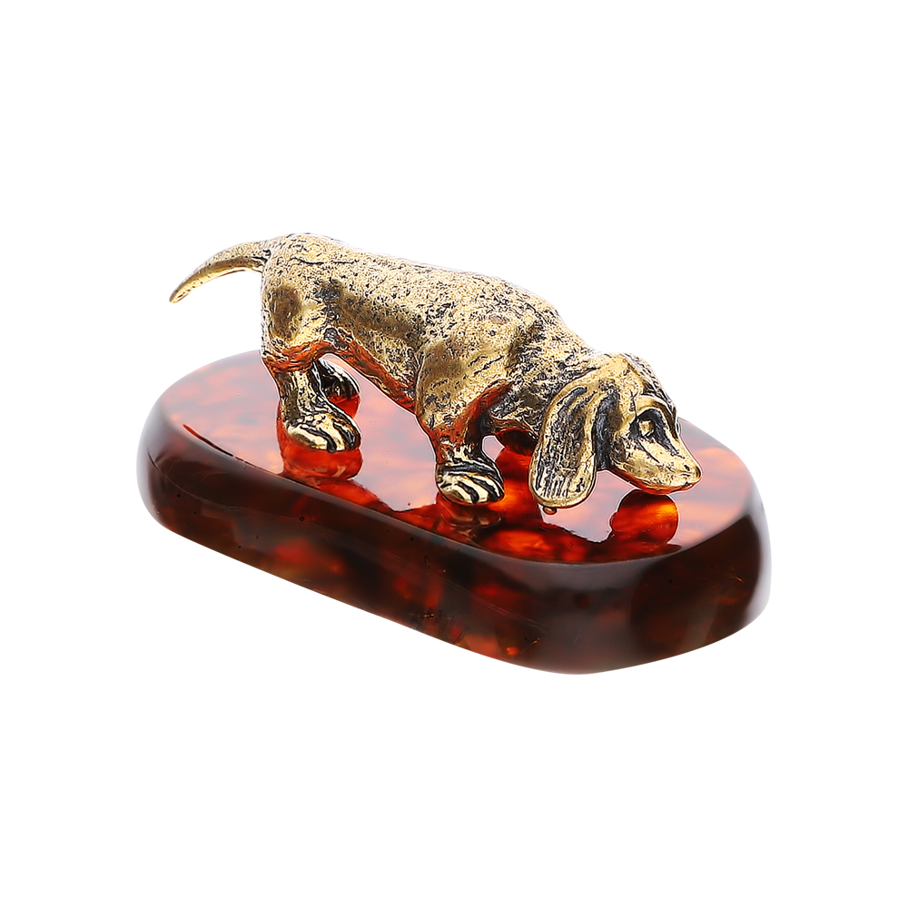 Фото «Стальной сувенир настольный с янтарем»