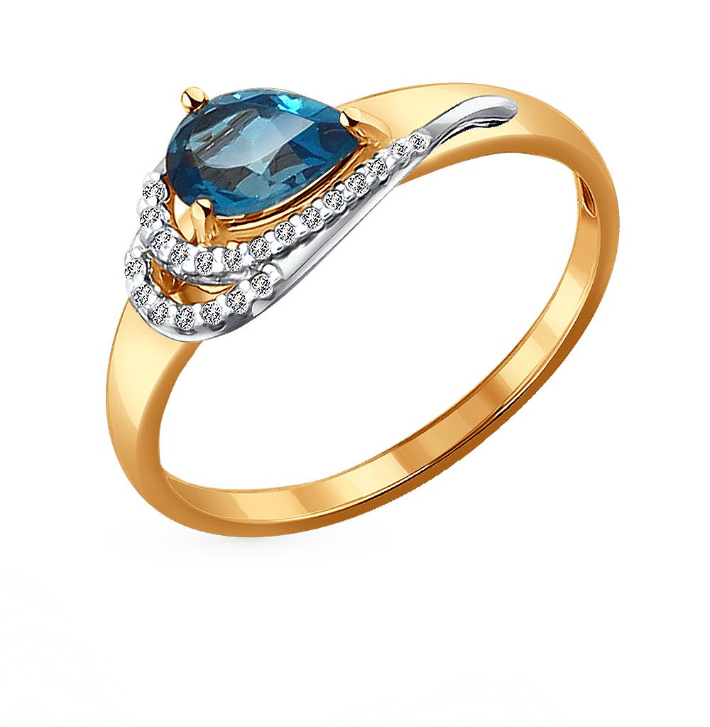 Фото «Золотое кольцо с топазами и фианитами SOKOLOV 714075*»