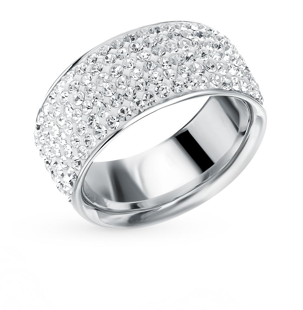 стальное кольцо с кристаллами