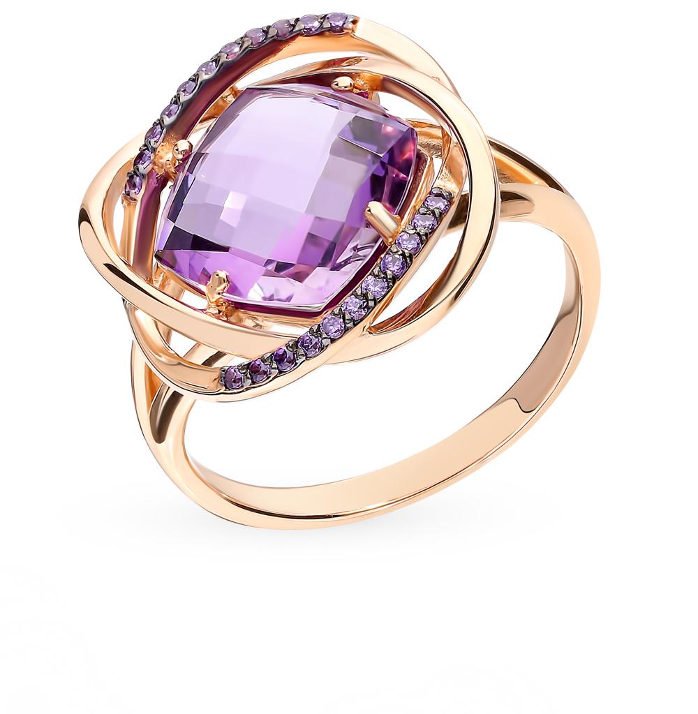 Золотое кольцо с аметистом и фианитами в Санкт-Петербурге