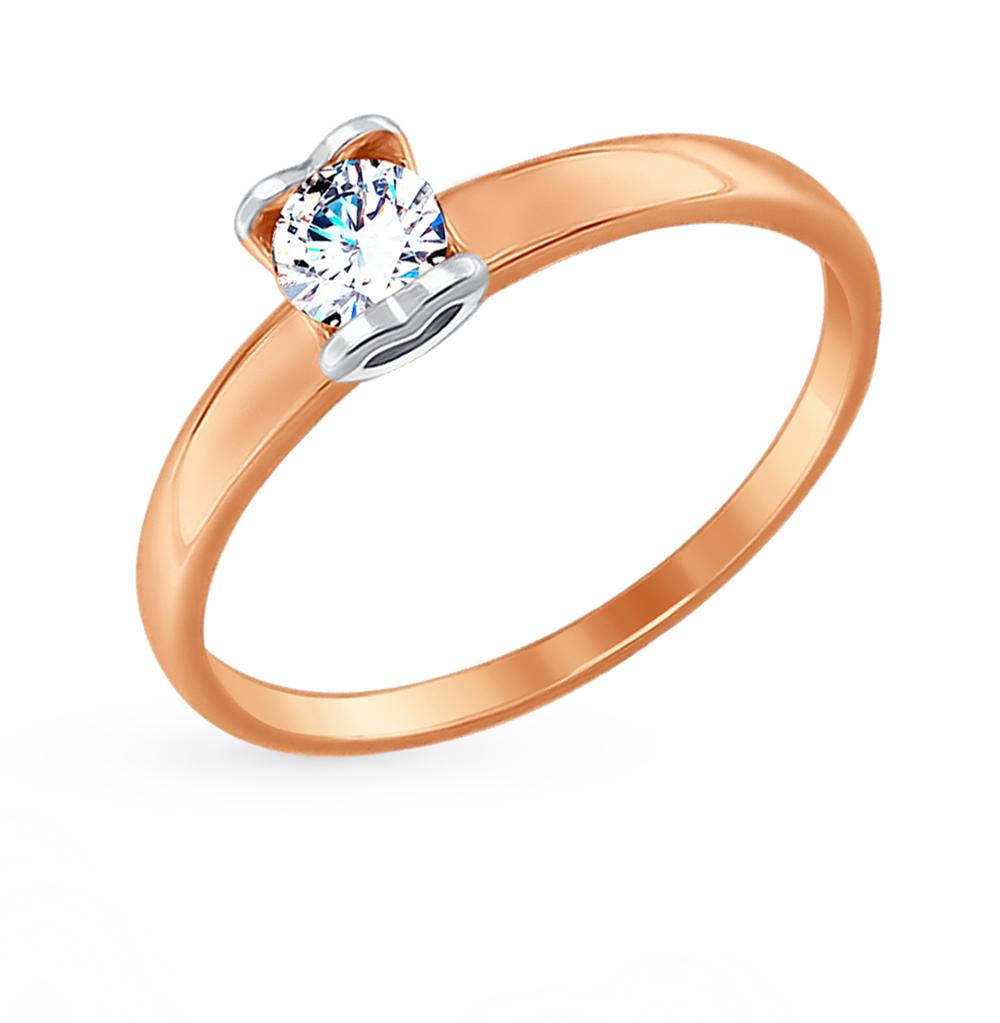 Фото «Золотое кольцо с фианитами SOKOLOV 017480»