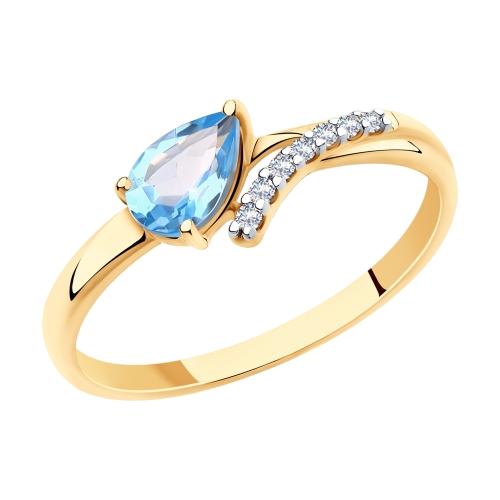 Золотое кольцо с топазами и фианитами SOKOLOV 715695* в Екатеринбурге