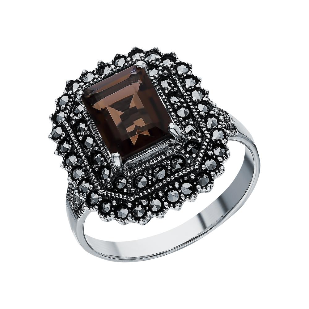 Серебряное кольцо с кварцами дымчатыми и марказитами swarovski в Санкт-Петербурге