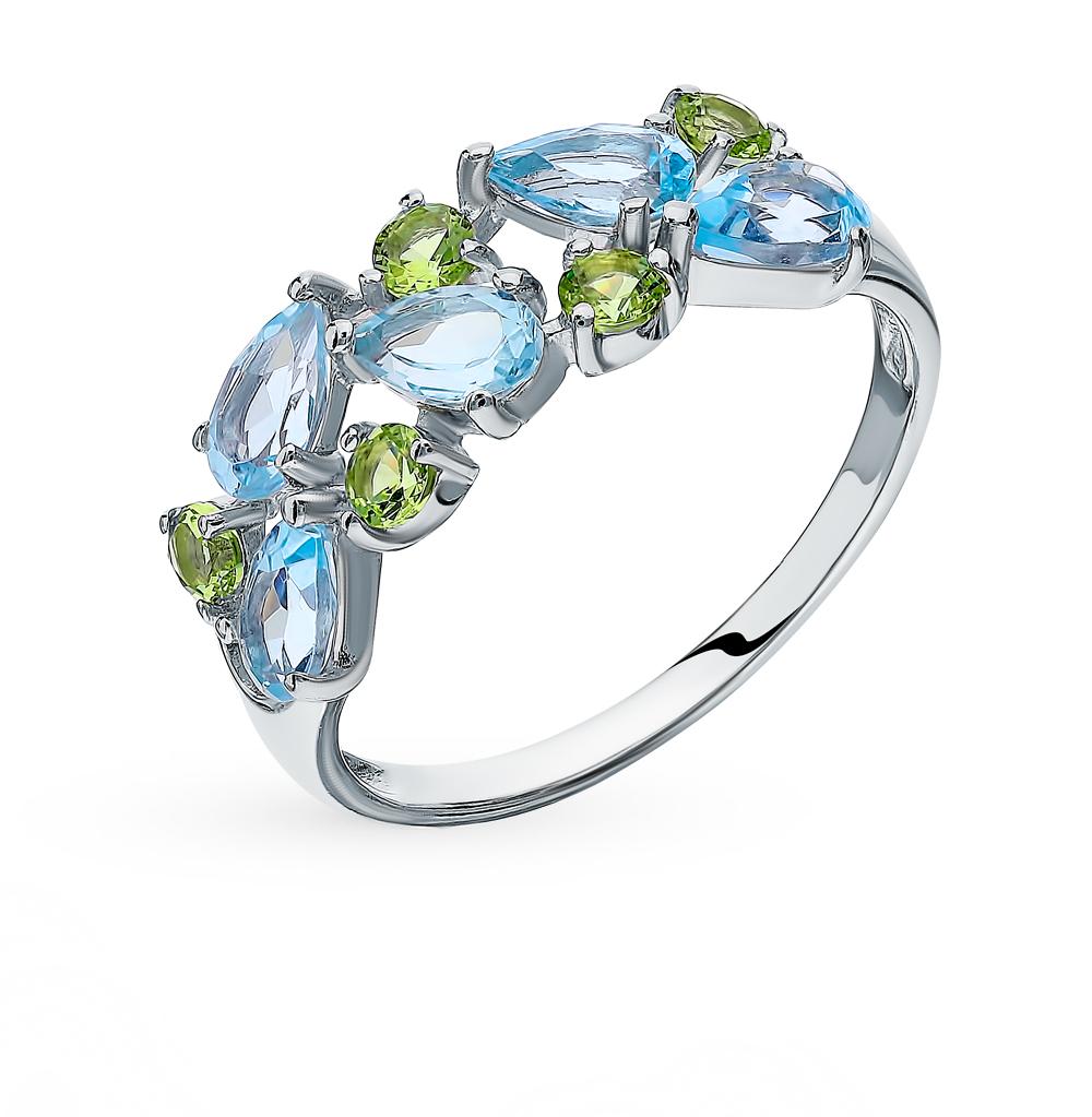 серебряное кольцо с топазами и фианитами SOKOLOV 92011599