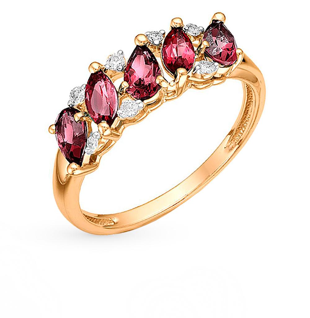 Фото «золотое кольцо с гранатом, топазами, фианитами и родолитами»