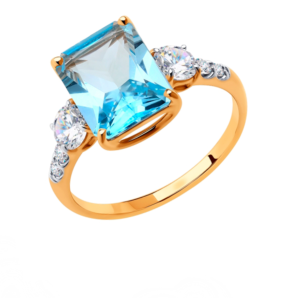 Золотое кольцо с топазами и фианитами SOKOLOV 715921* в Екатеринбурге