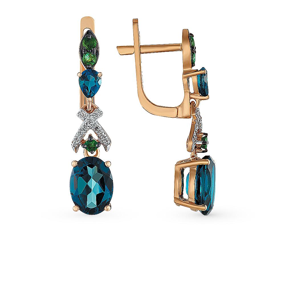 Золотые серьги с топазами, изумрудами и бриллиантами в Екатеринбурге