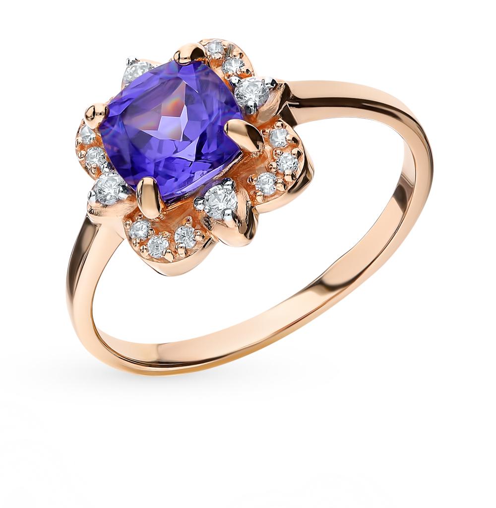 золотое кольцо с танзанитом и фианитами