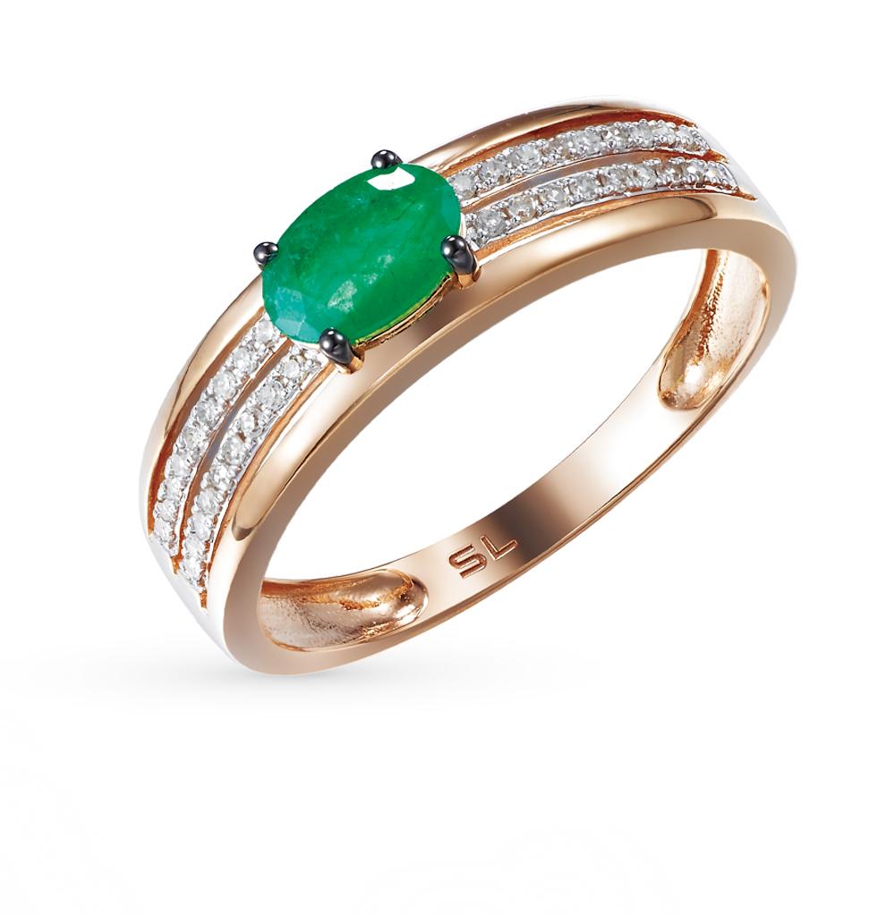 Фото «Золотое кольцо с изумрудом и бриллиантами»