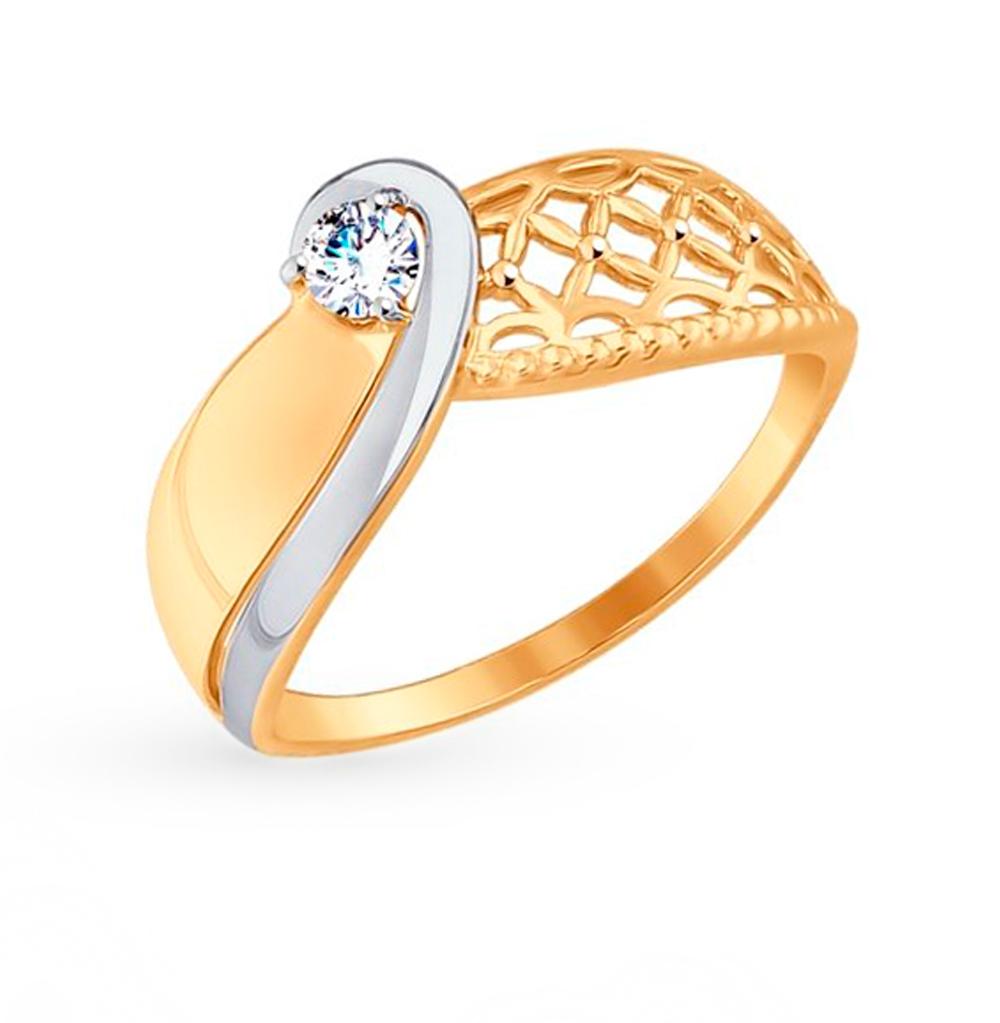 золотое кольцо с фианитами SOKOLOV 017553