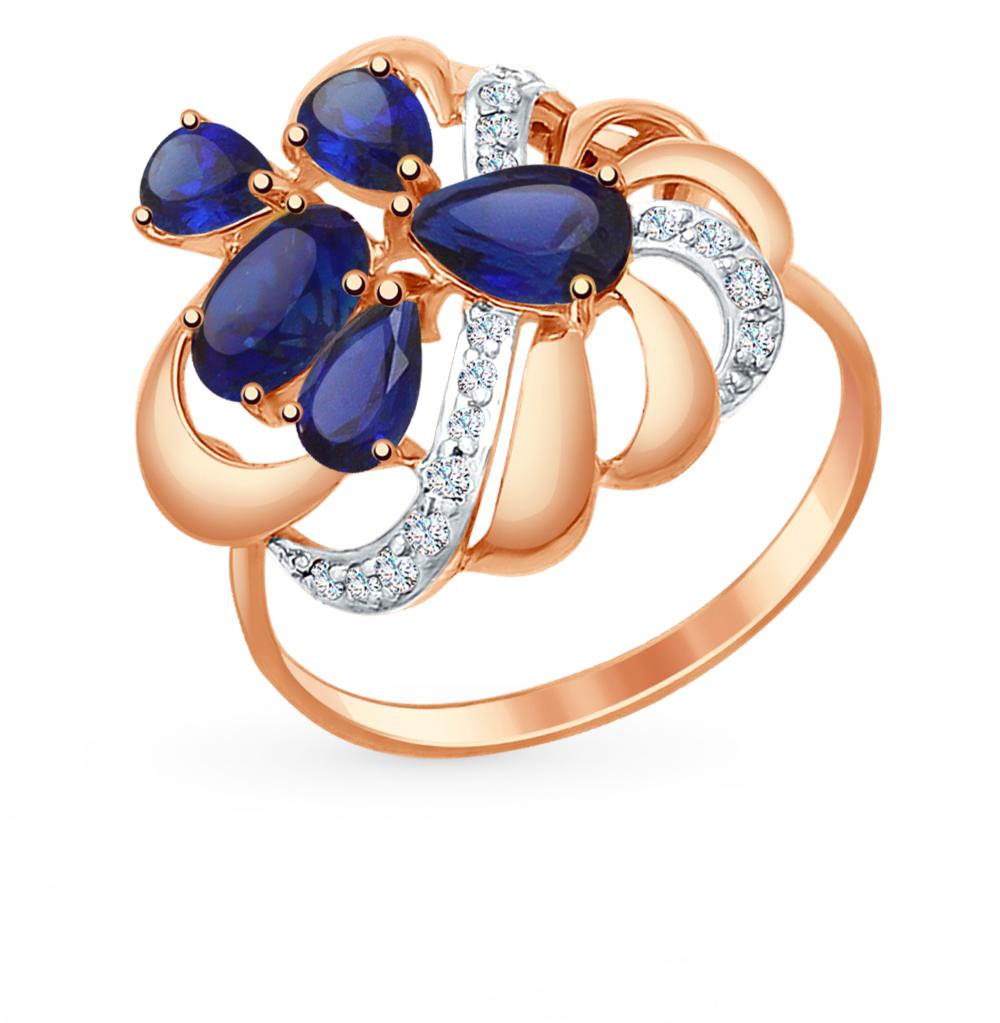 золотое кольцо с корундом и фианитами SOKOLOV 714751*