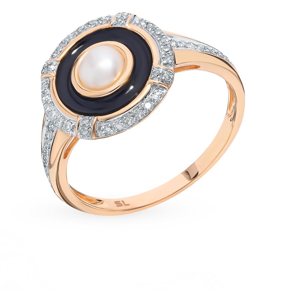 золотое кольцо с жемчугом, эмалью и бриллиантами