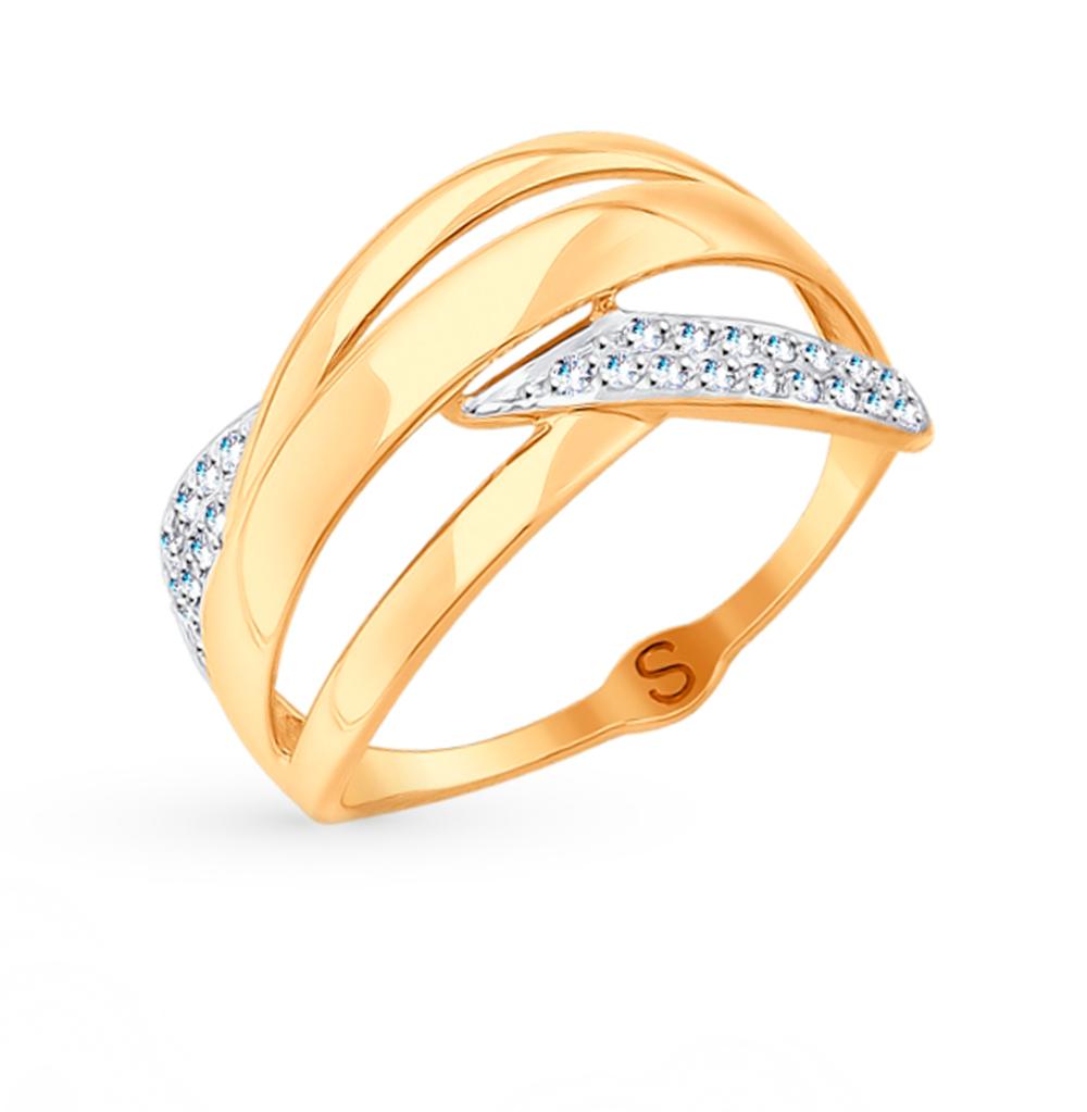 золотое кольцо с фианитами SOKOLOV 017704