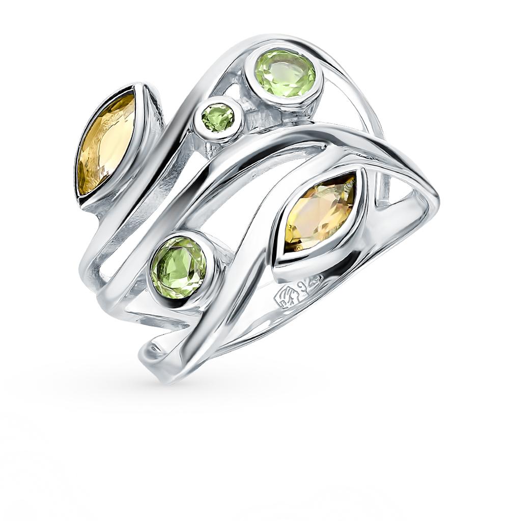 серебряное кольцо с хризолитом и цитринами