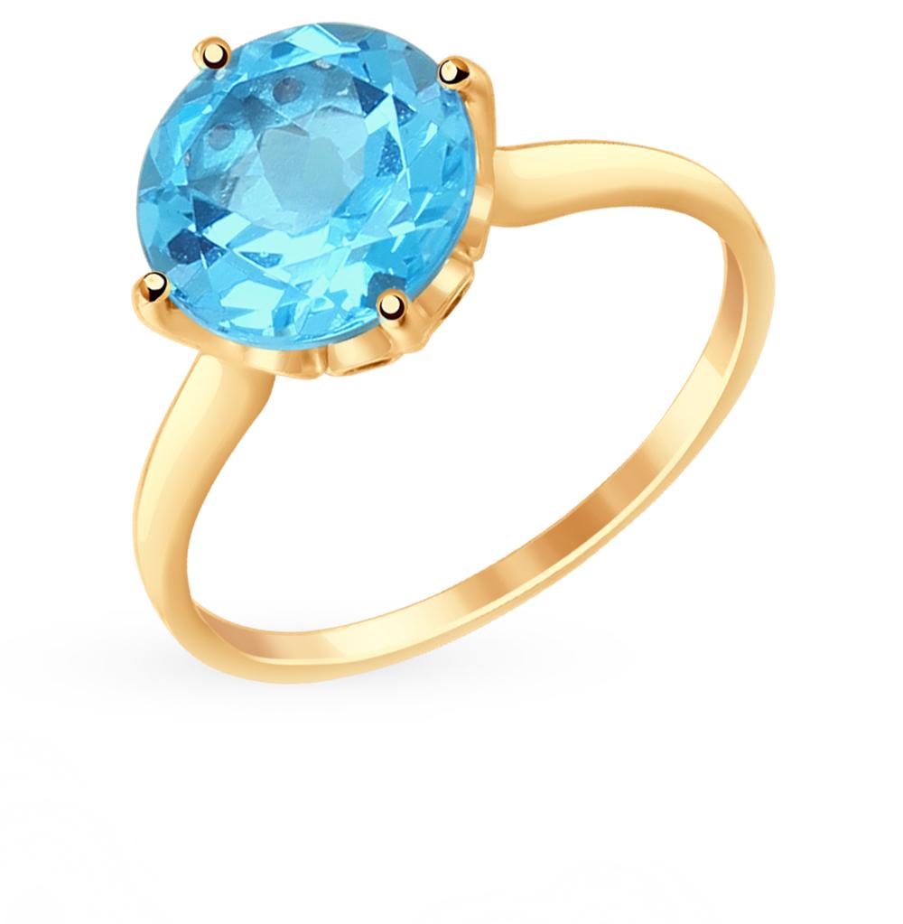 золотое кольцо с топазами и фианитами SOKOLOV 714914