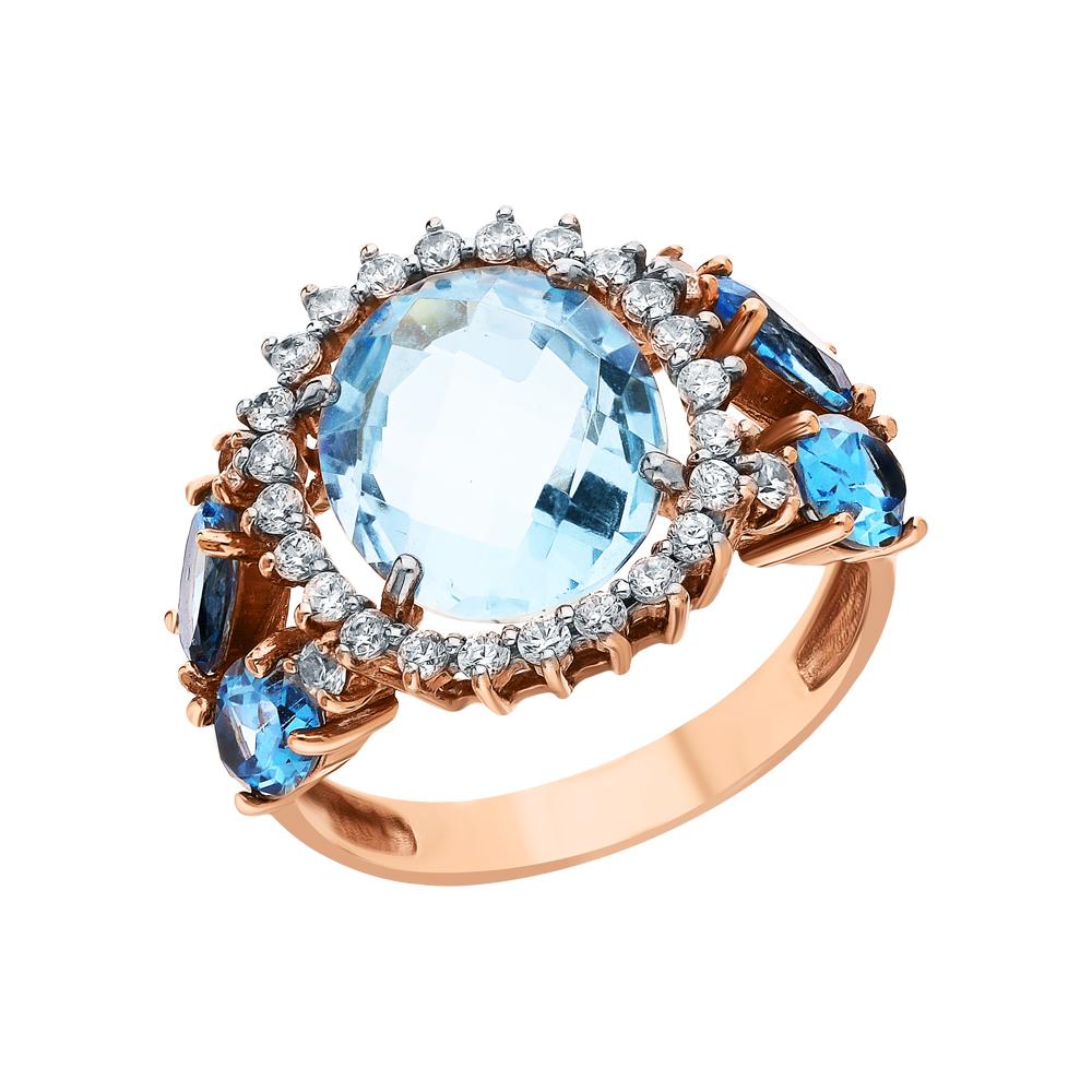 Фото «Золотое кольцо с топазами синтетическими и кубическими циркониями»